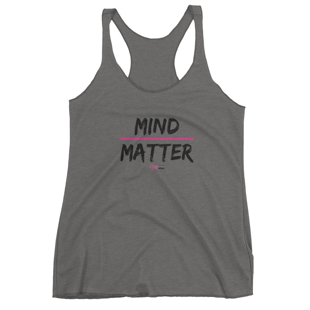 Grey Pynk Haus racerback Mind Over Matter tank in gray