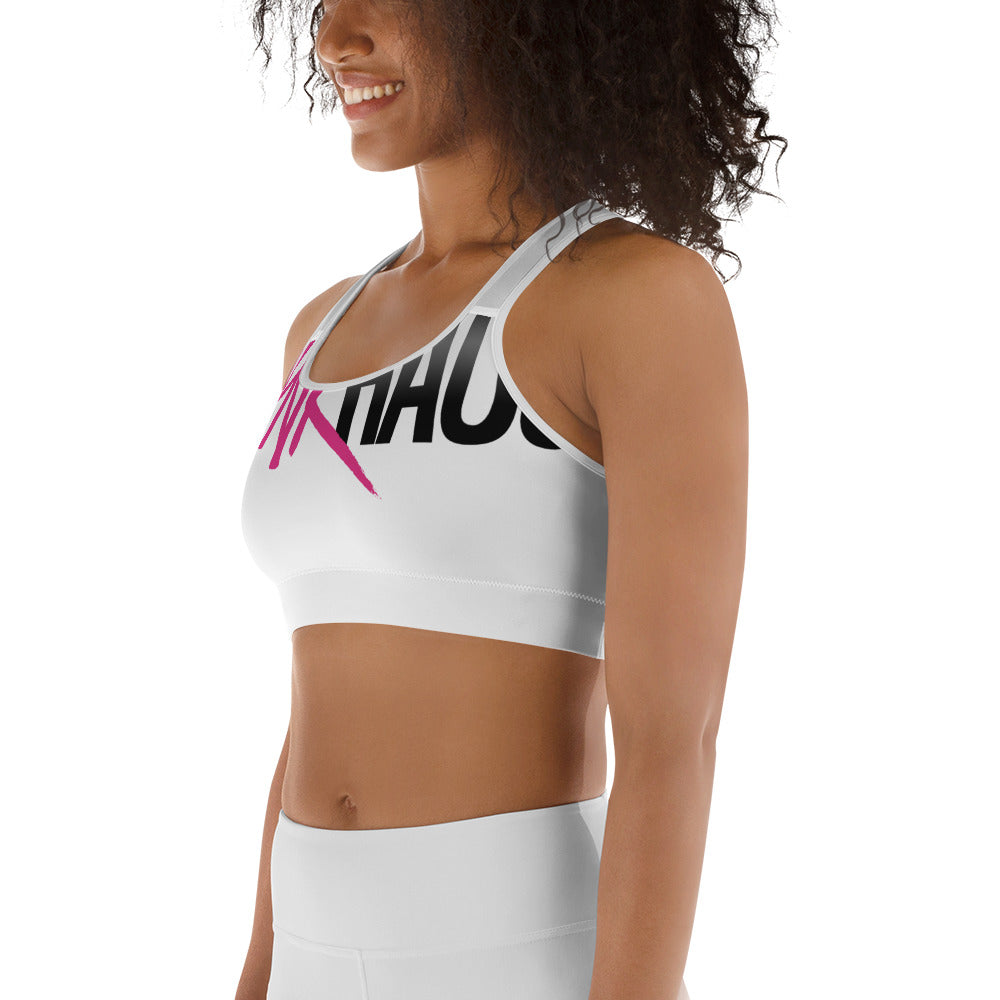 Pynk Haus Logo Sports Bra (white)