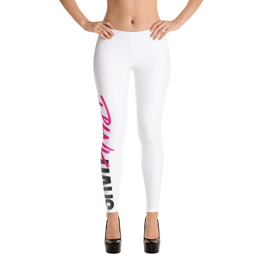 Shop mid-raise yoga leggings for the fit fashionista.  Classic styles available in white with pink logo