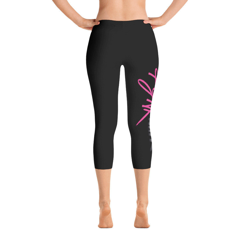 black capri leggings by Pynk Haus.  Comfortable microfiber tights with Pynk Haus logo