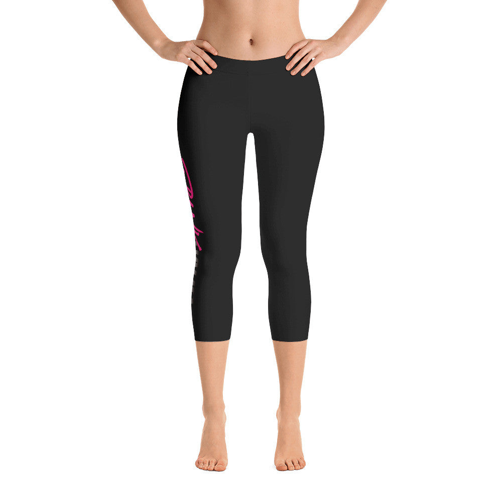 Pynk Haus black capri leggings with classic logo