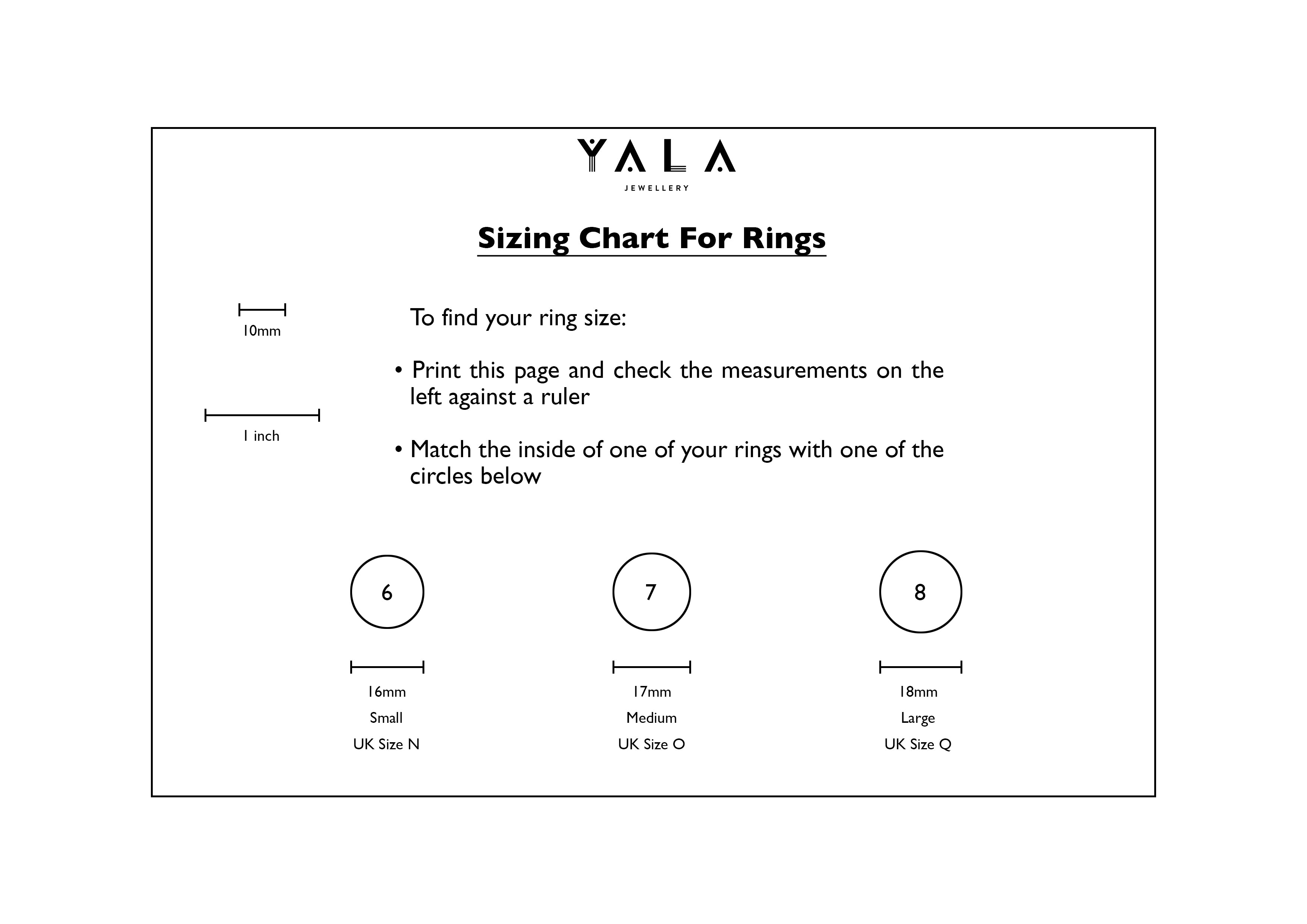 Yala Jewellery Ring Size Chart