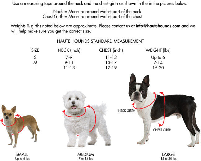 Graphic of Chihuahua showing that you measure around the neck for Neck Girth and around the body just behind the front legs for the Breast Girth.