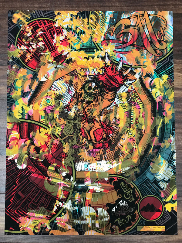 311 Concert Poster Austin Texas by James Flames Sparkle Foil v2