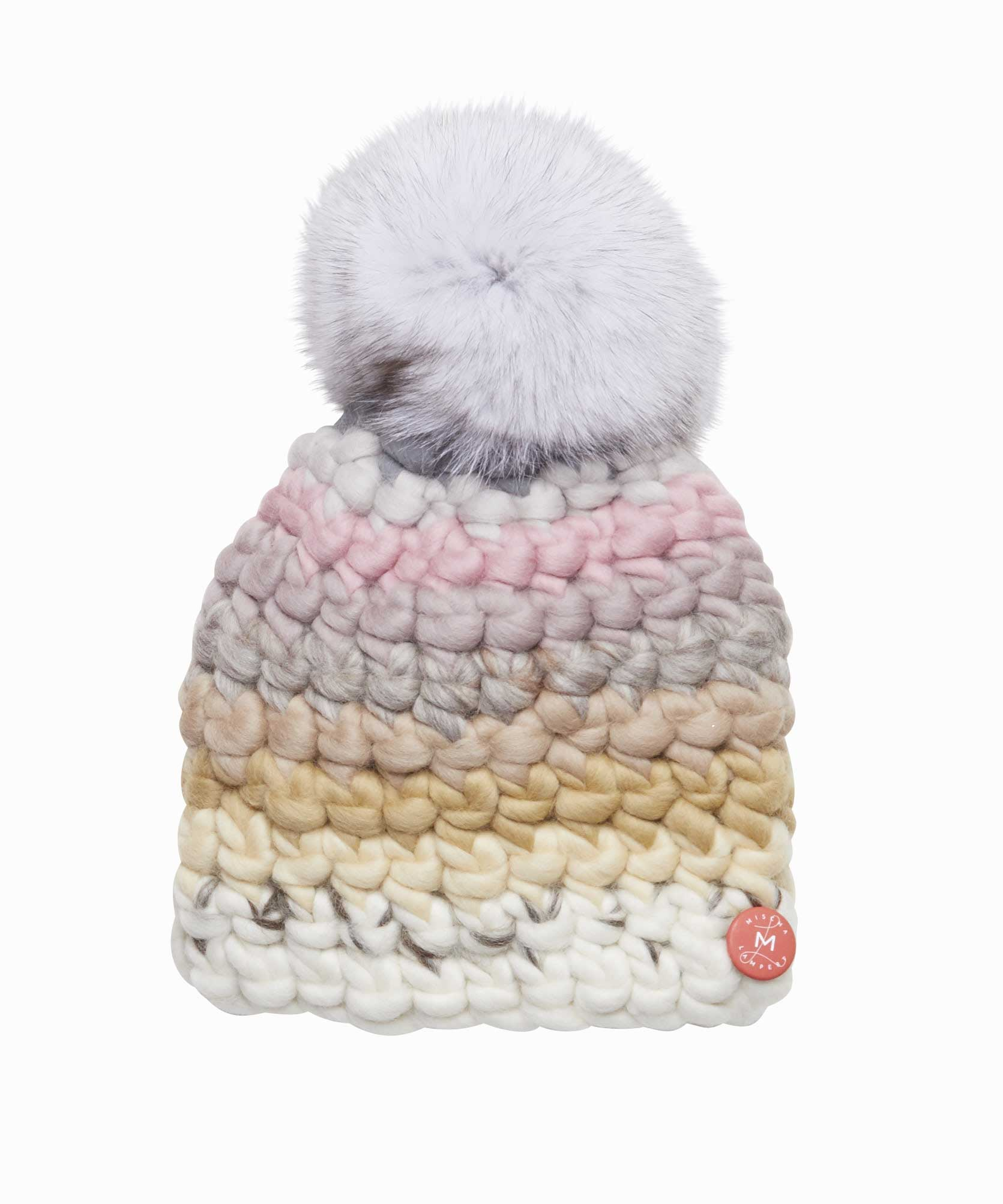Pastel Stripe White Pom Hat