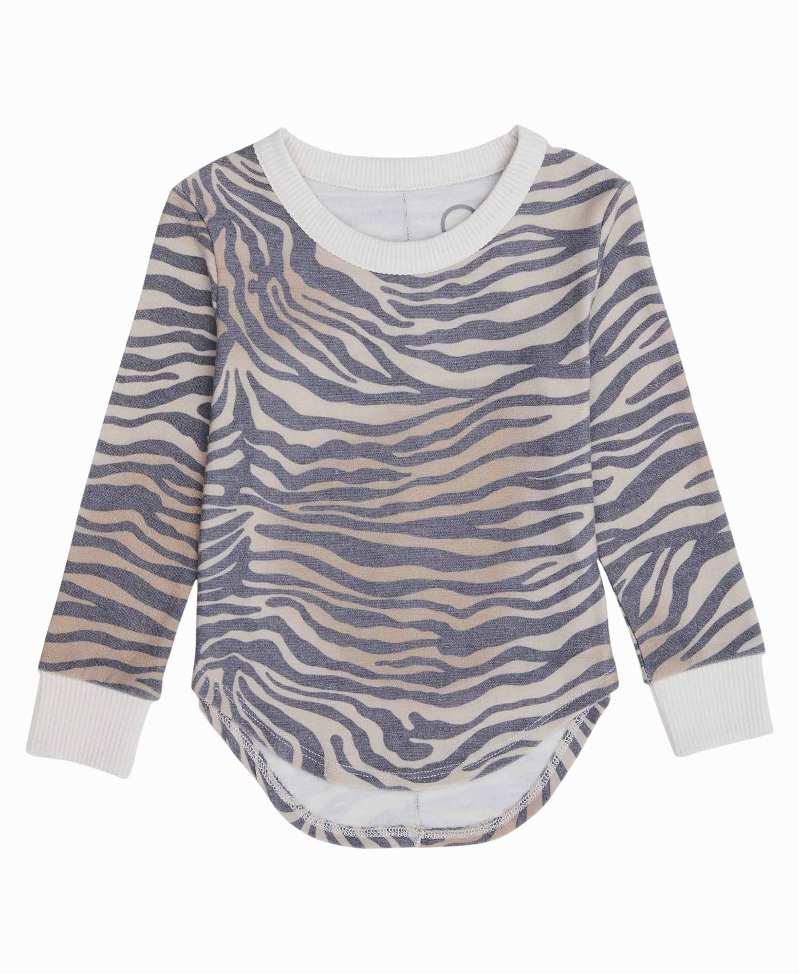 Zebra Shirttail Pullover Top