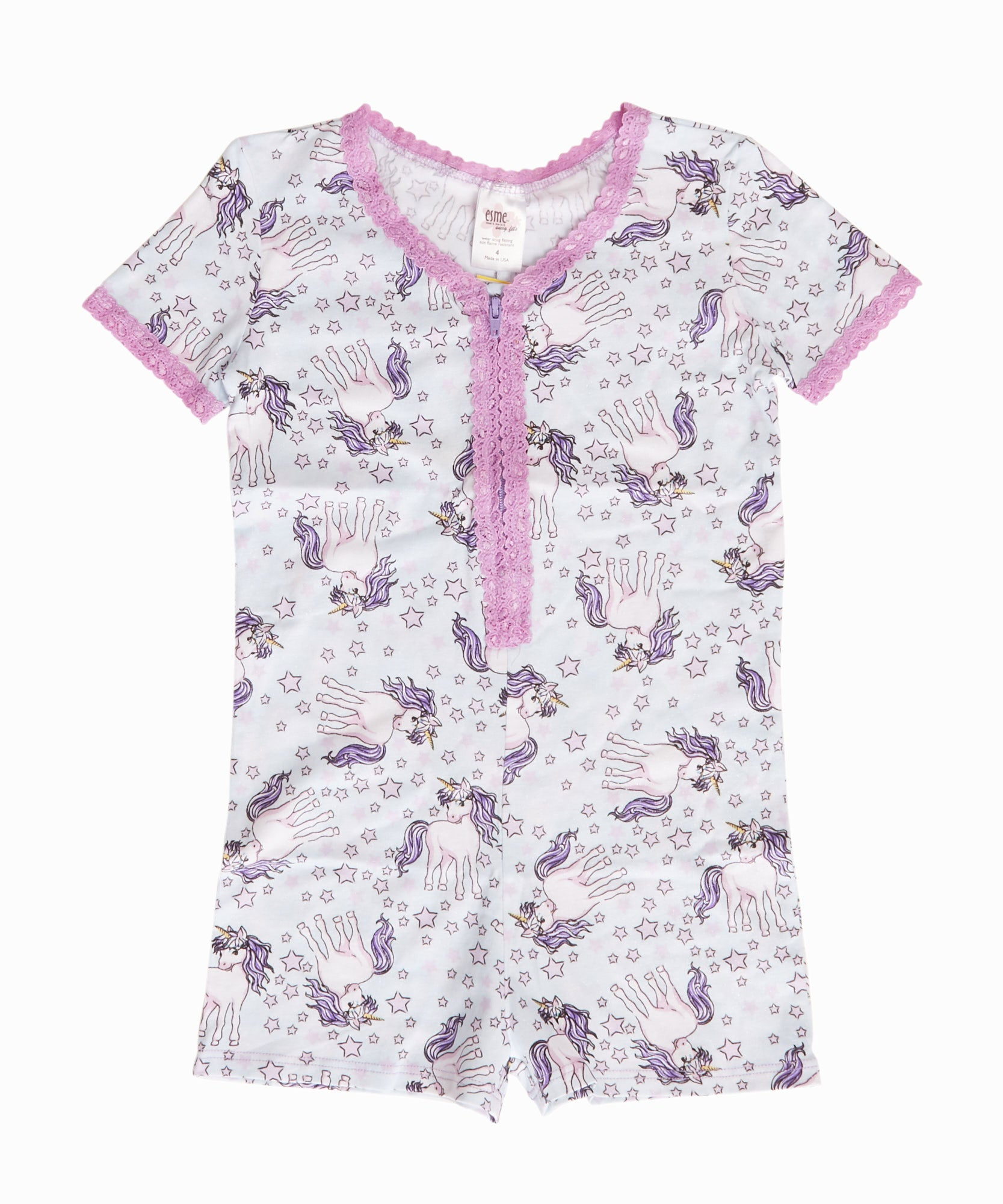 Short Sleeve Unicorn Romper