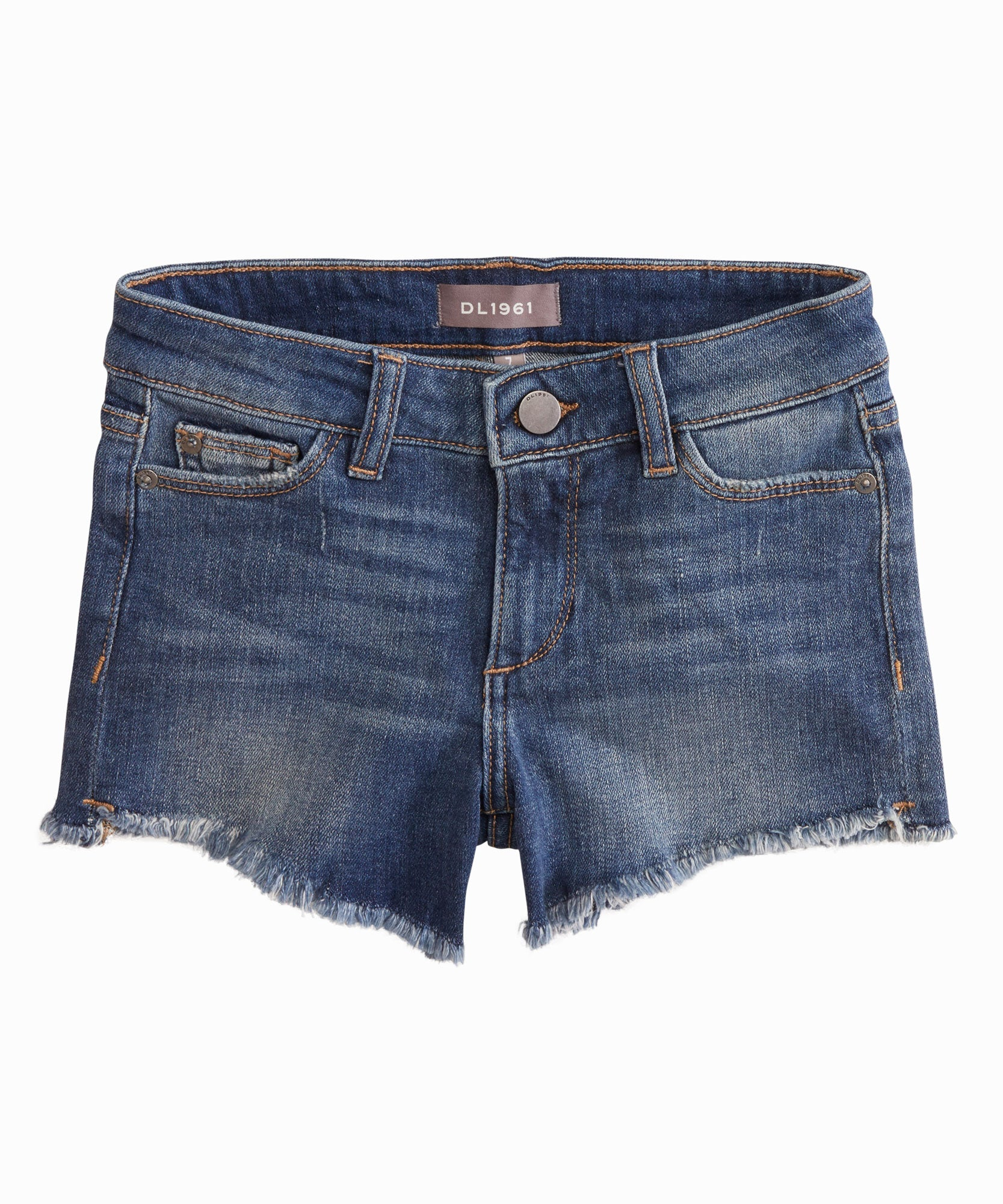 Add these essential denim cutoffs to your little trendsetters wardrobe as a Summertime staple. 5-pocket short with frayed hem.