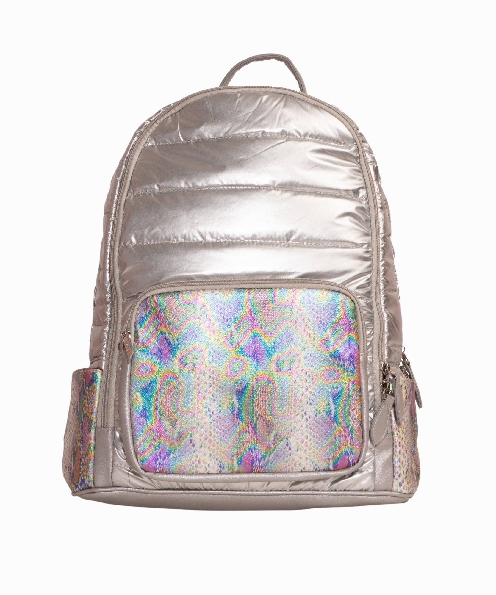 Silver Snake Puffy Backpack