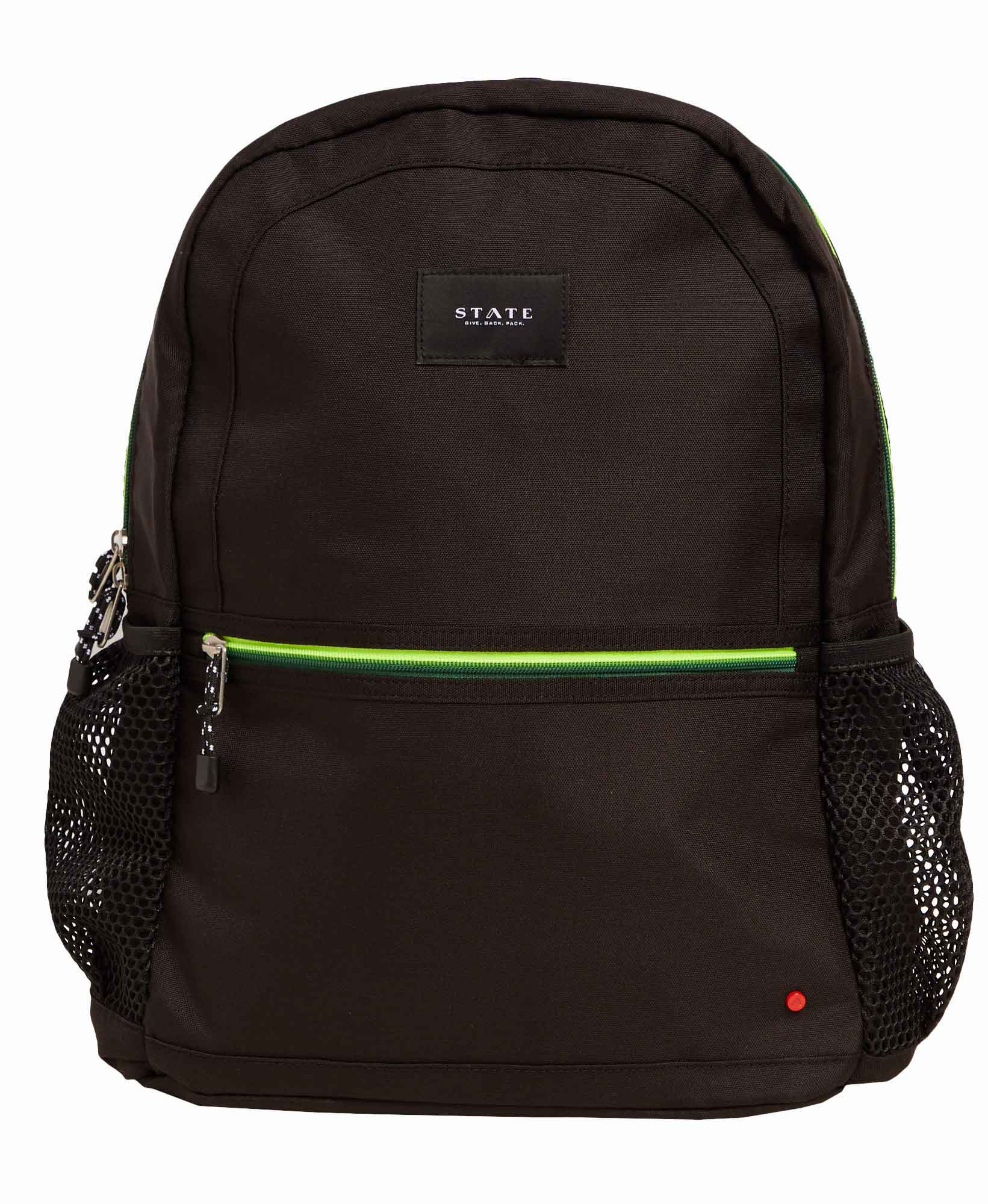 State Kane Double Pocket Green Piping Backpack