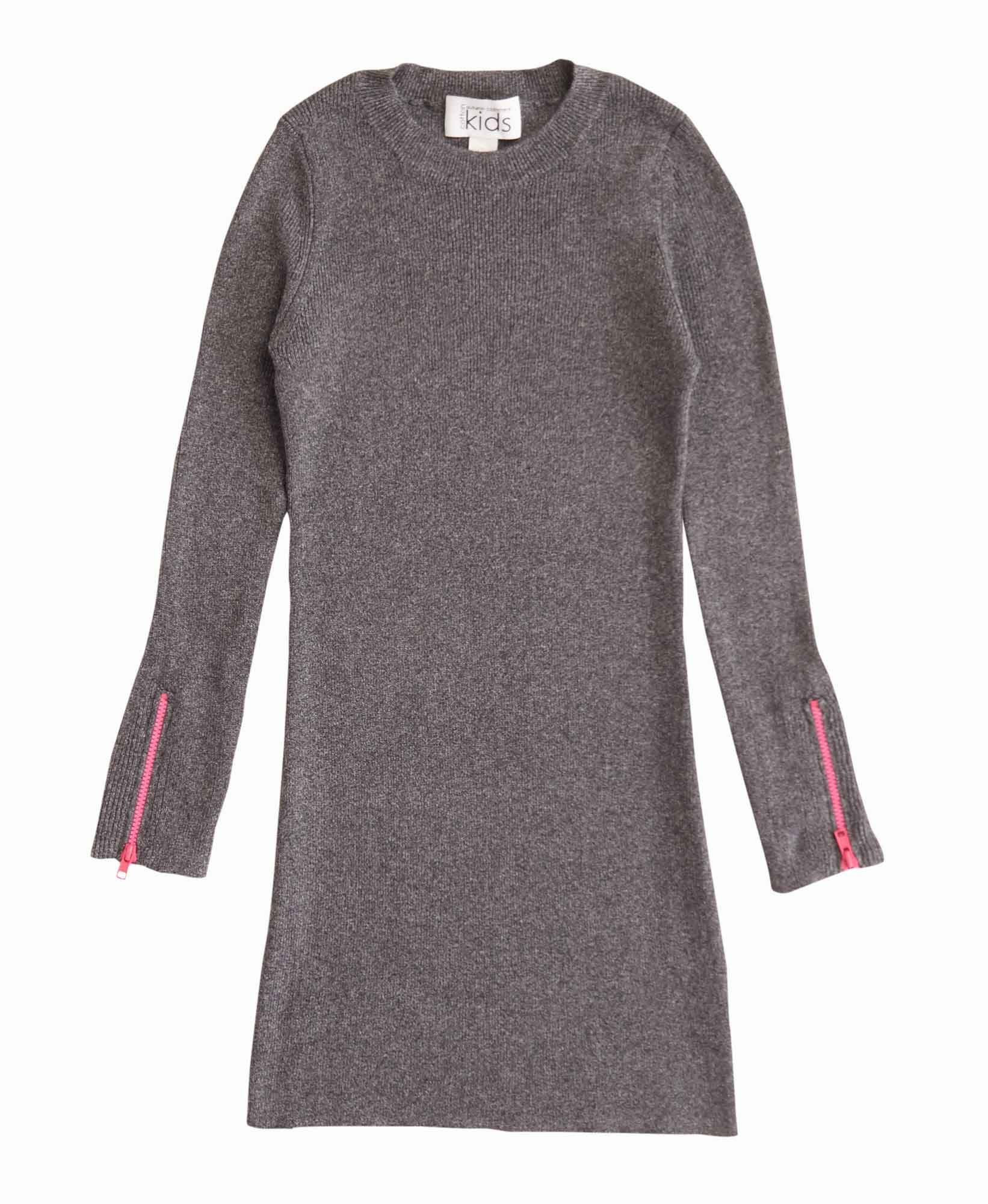 Autumn Cashmere Ribbed Dress with Neon Zip
