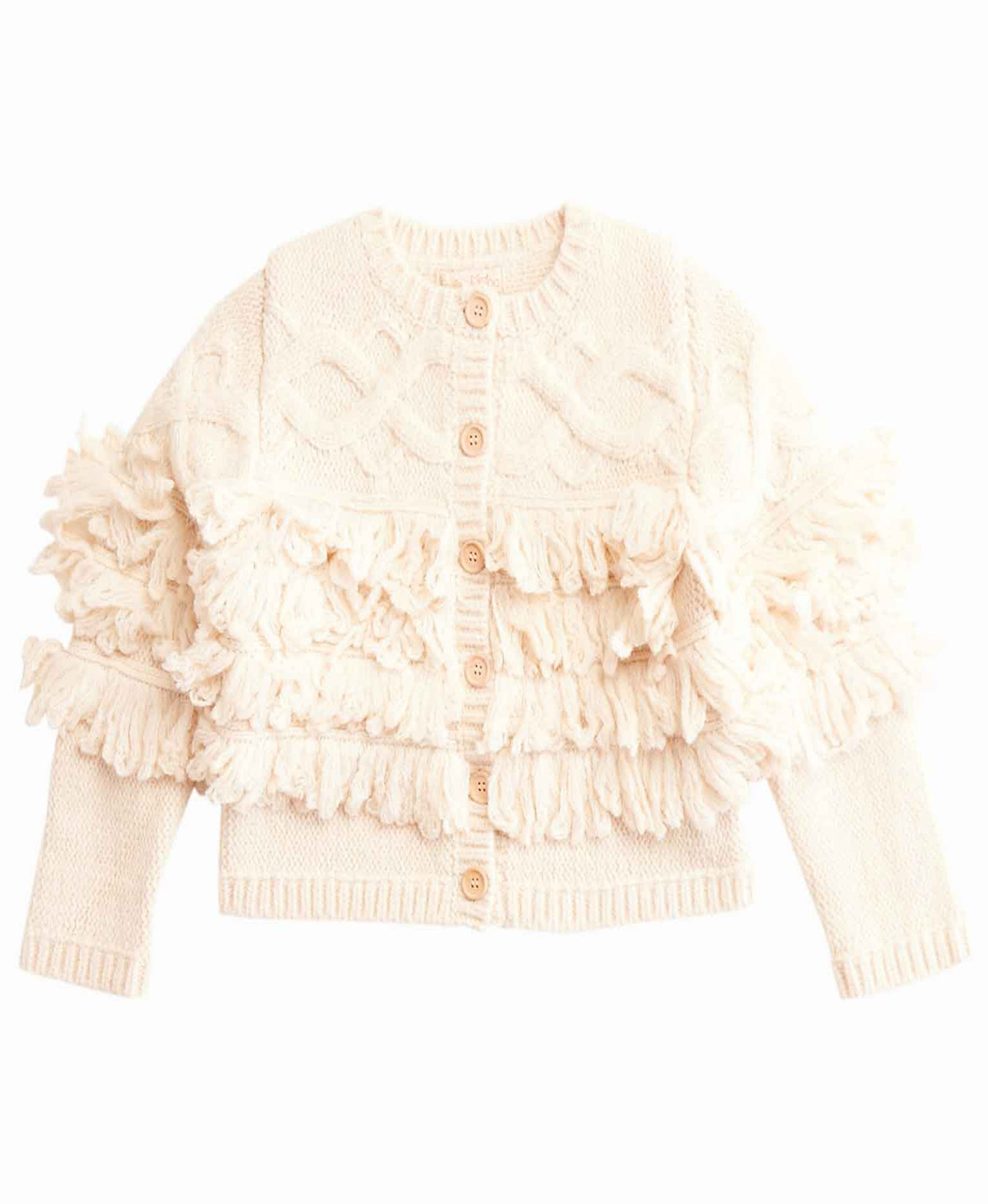 Cable Knit Fringe Ruffle Cardigan