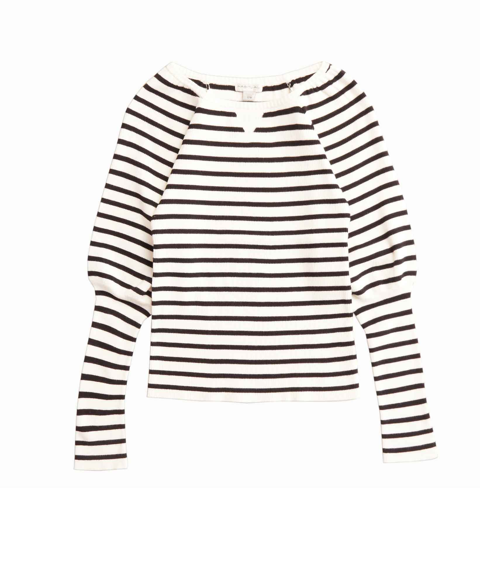 Habitual Girl Stripe Puff Sleeve Top