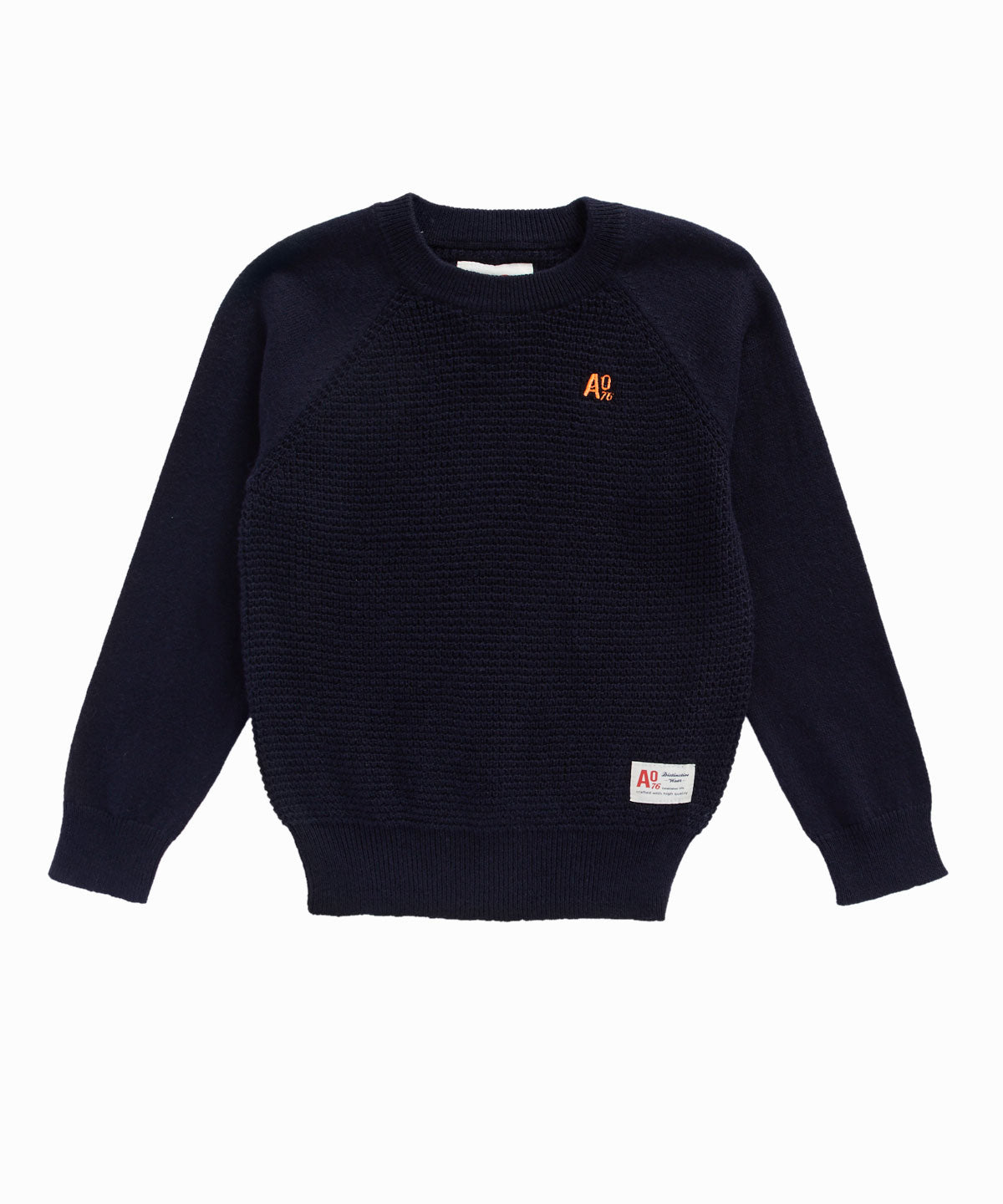 Navy Pullover Waffle Knit
