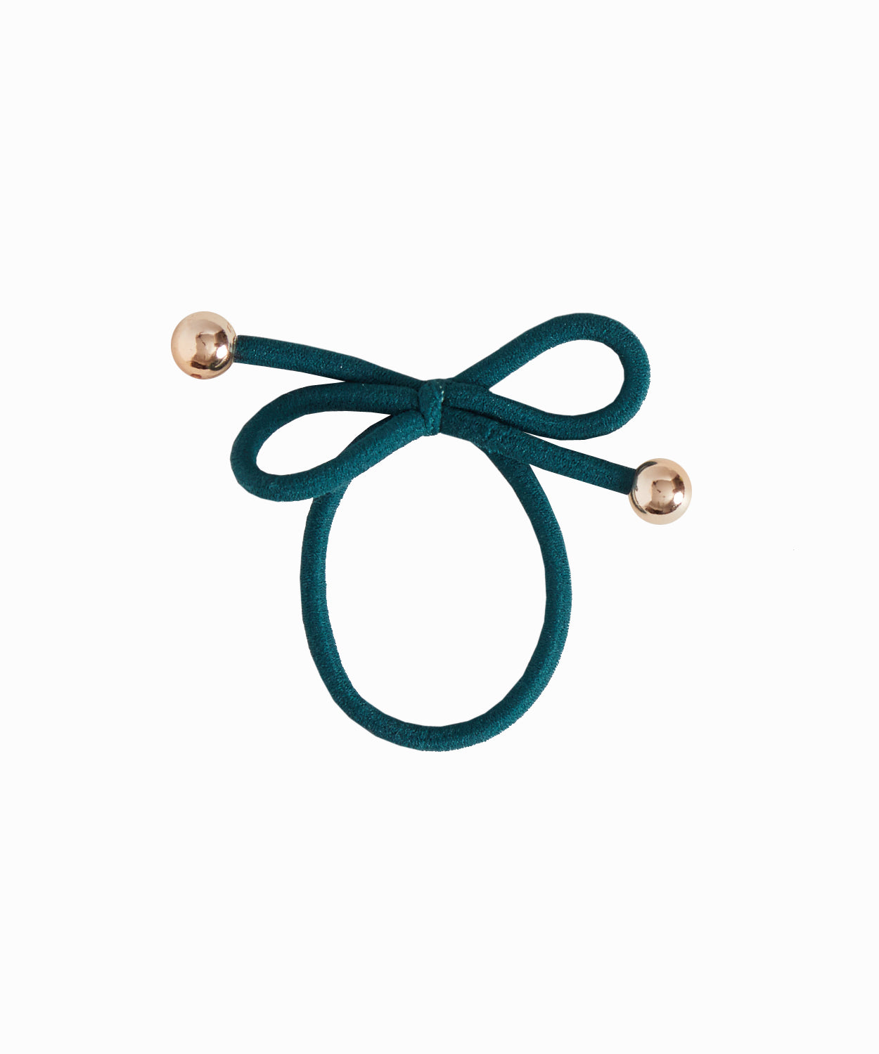 Gold Bead Dark Green Hair Tie