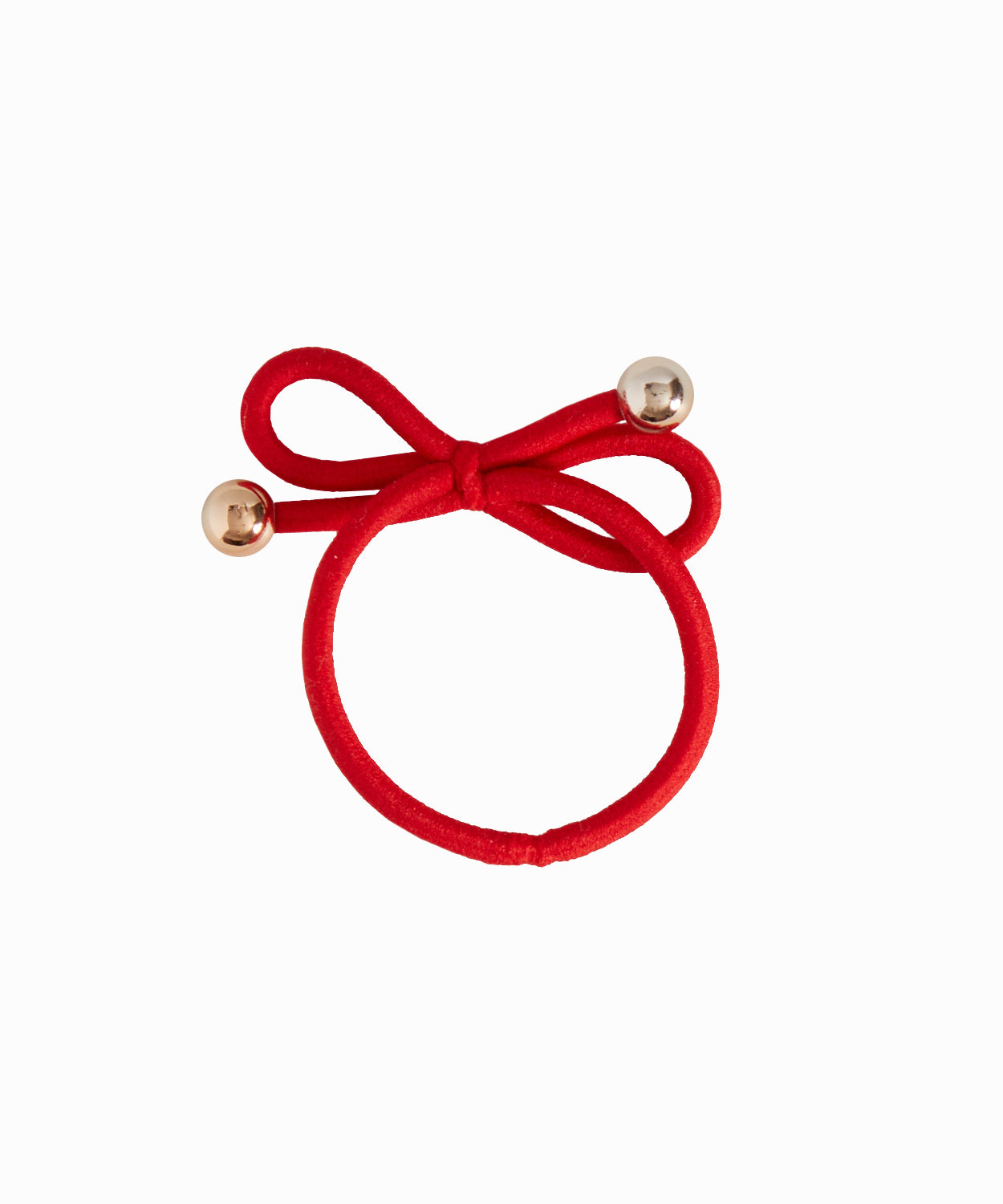 Gold Bead Red Hair Tie