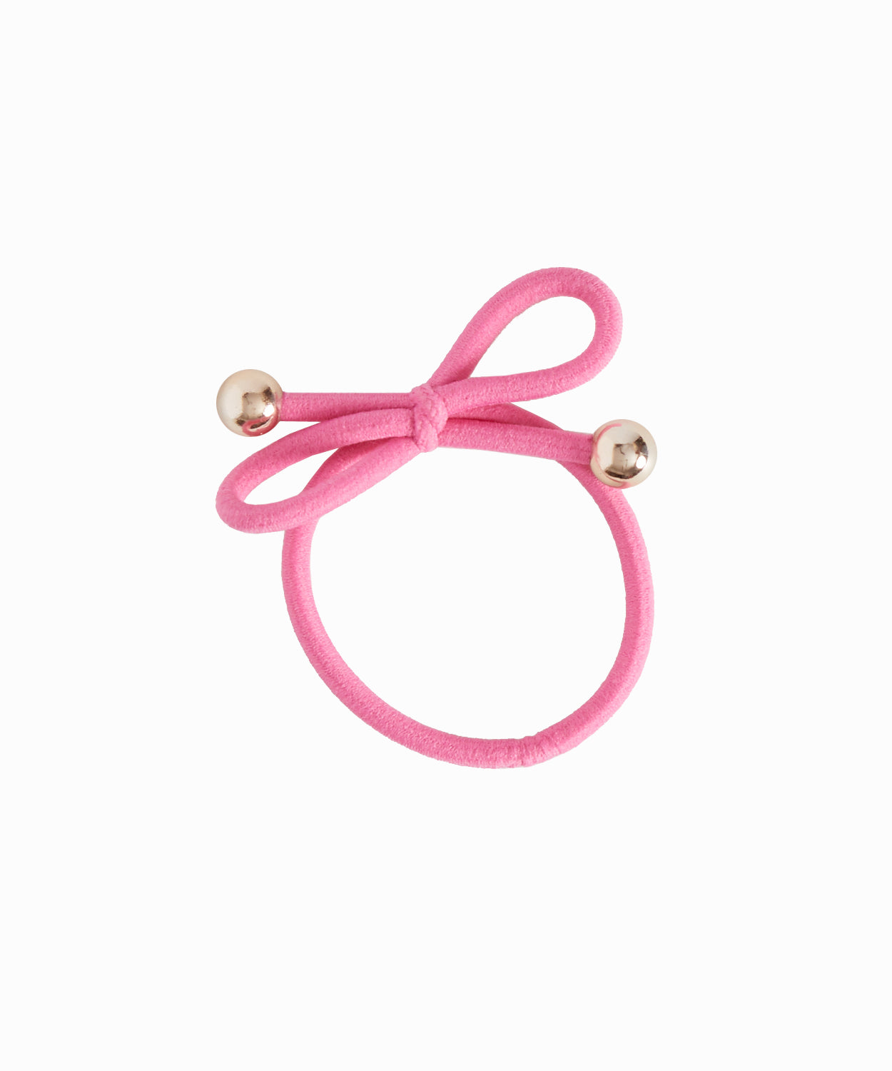 Gold Bead Pink Hair Tie