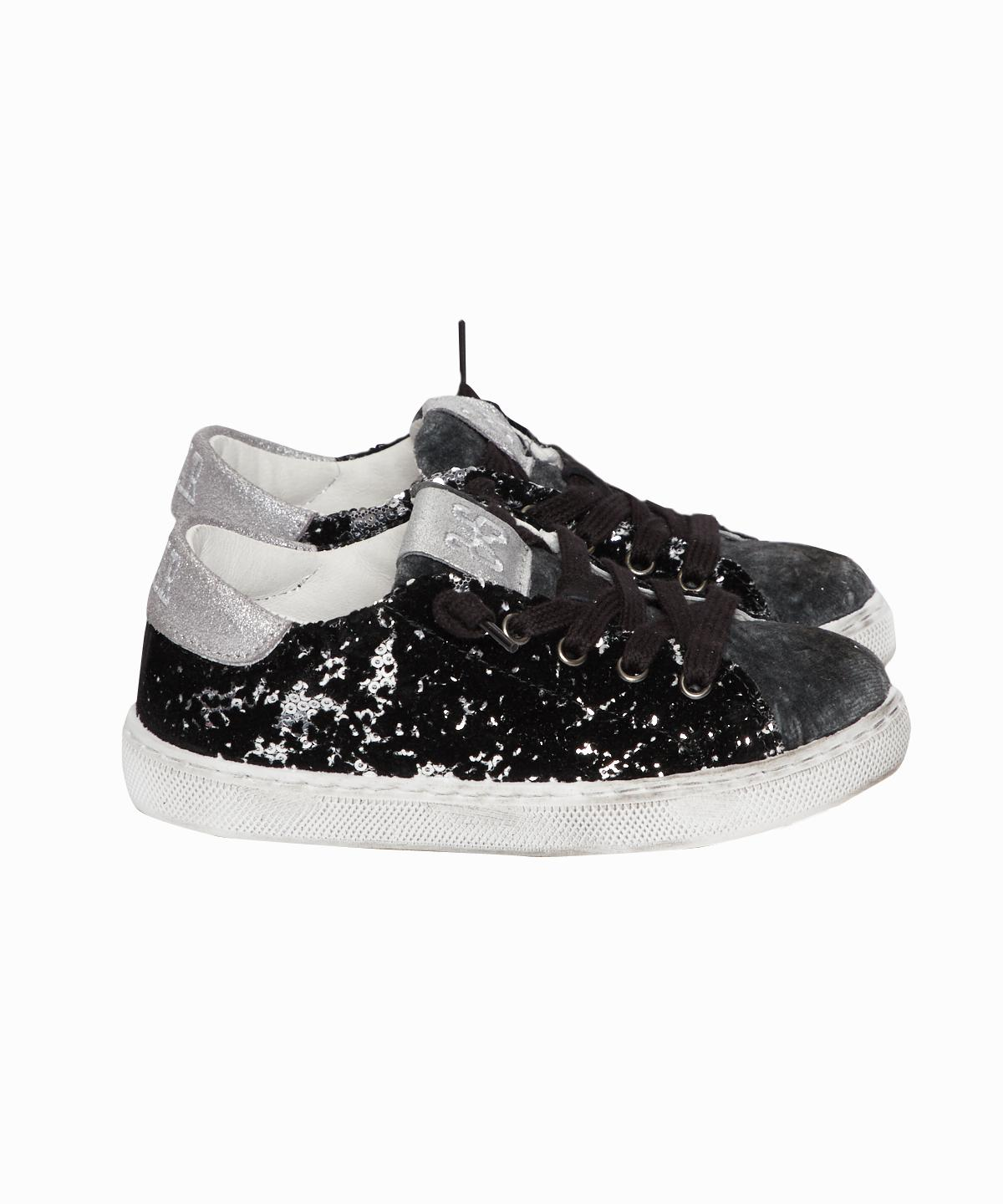 Silver Sequin/Black Velvet Sneakers