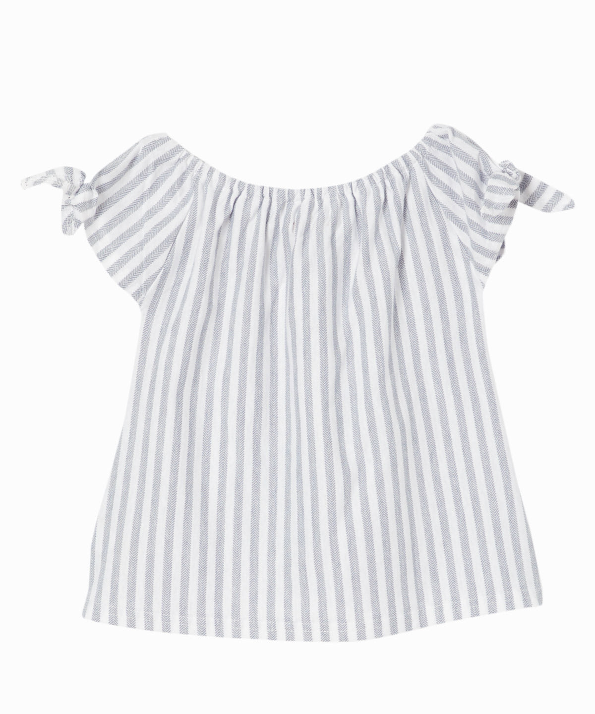 Indigo Stripe Shoulder Tie Top