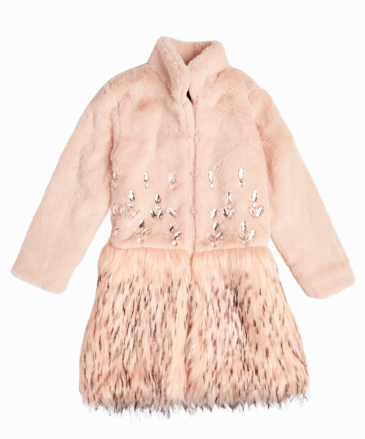 Flavia Bejeweled Faux Fur Pink Coat