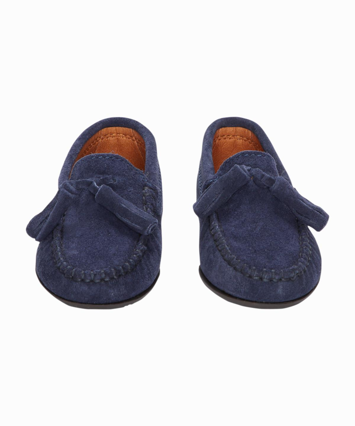 Navy Tassel Suede Loafer