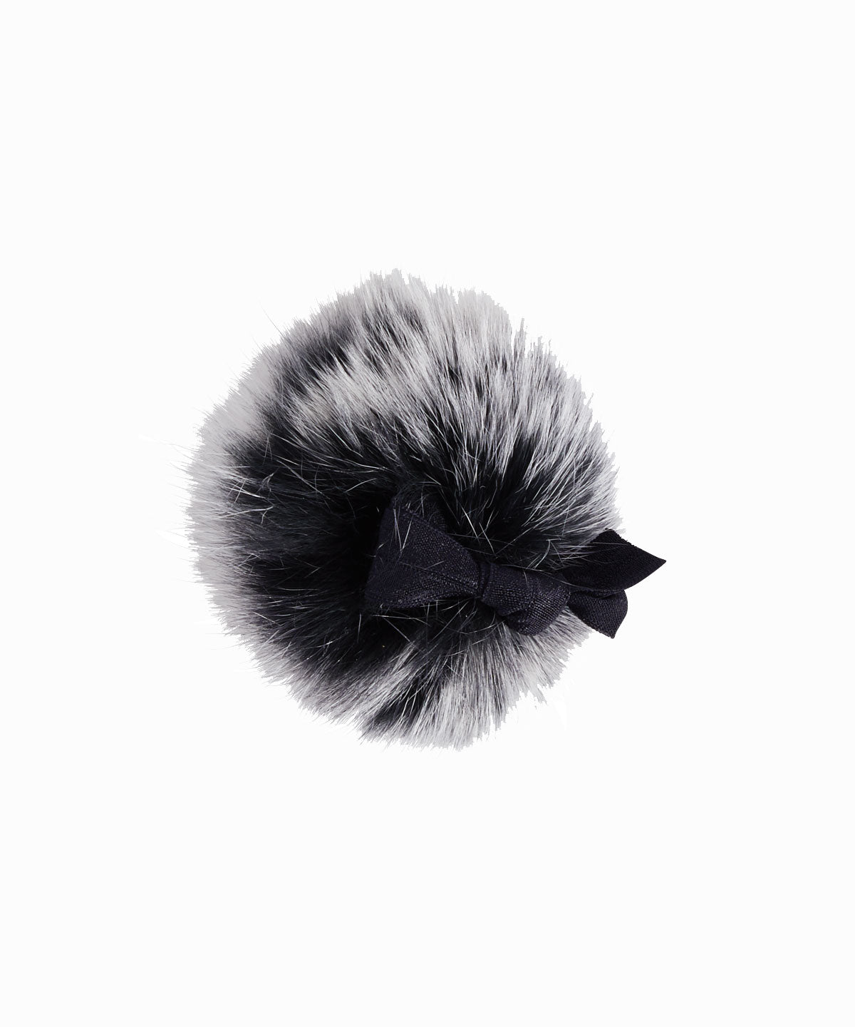 B & W Fox Fur Puff Ponytail Holder