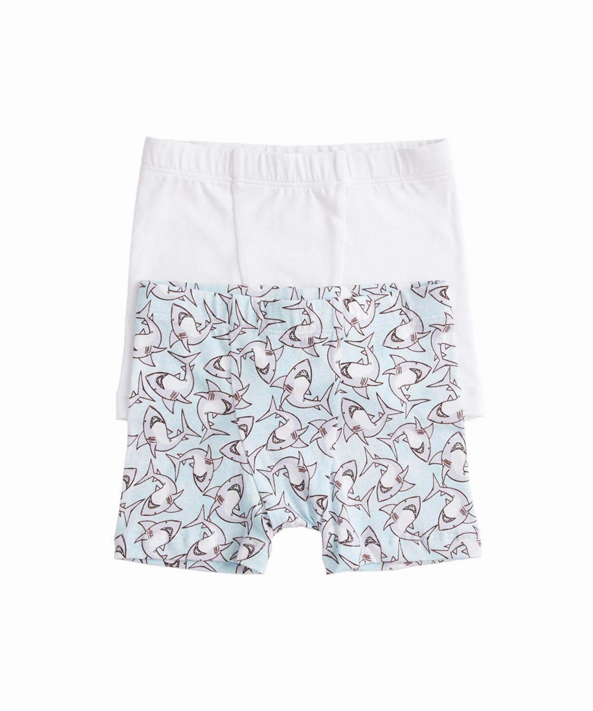 Set of 2 Shark Print/White Boxers
