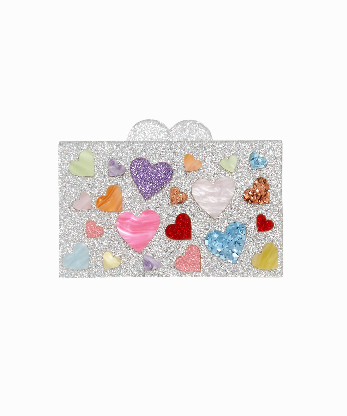 Multi Rainbow Hearts Acrylic Box Clutch Bag