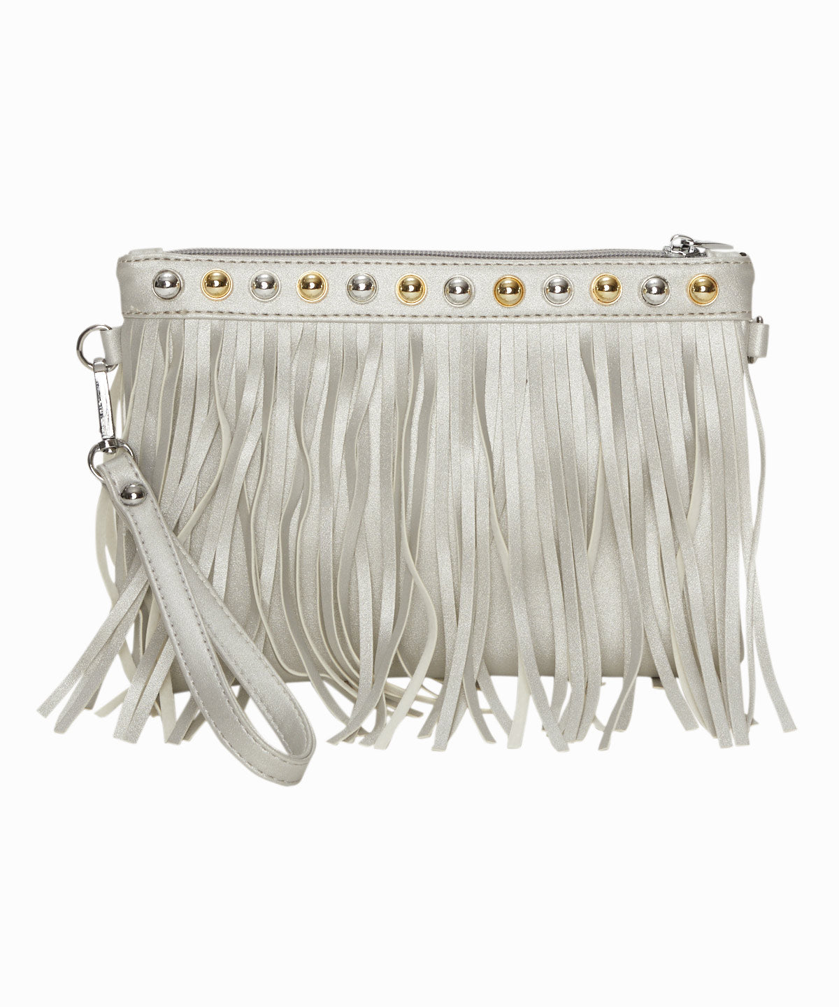 Silver Metallic Fringe Bag