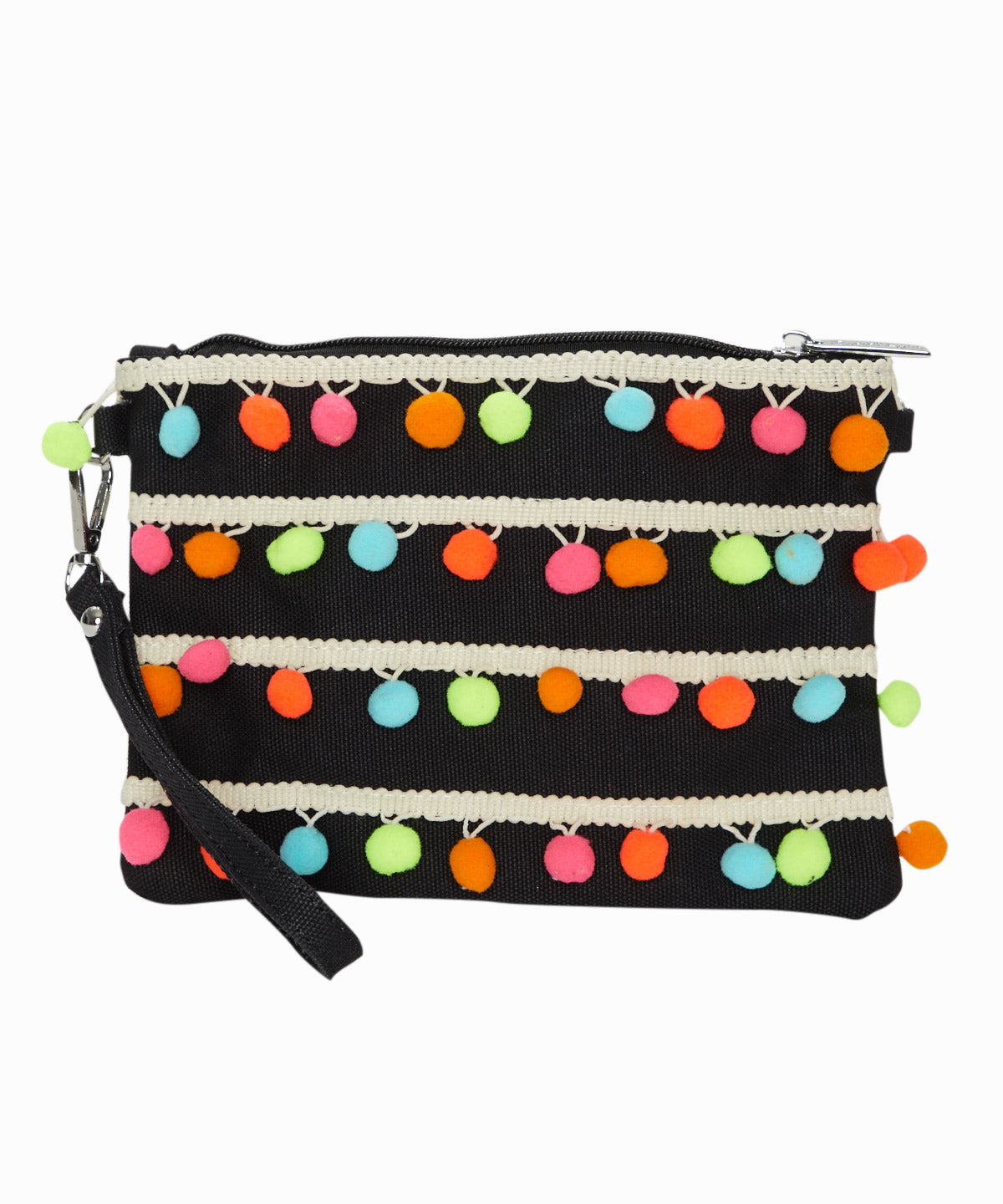 Pom Pom Black Wristlet Bag
