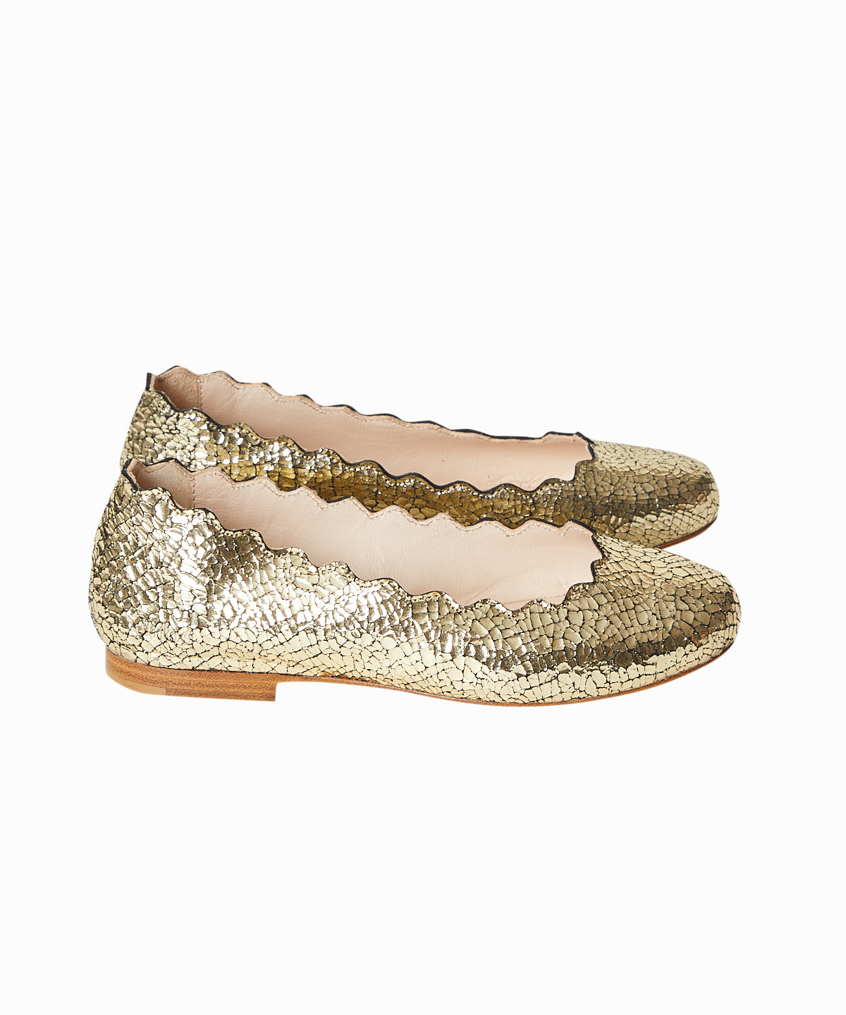 Scalloped Metallic Ballet Slippers