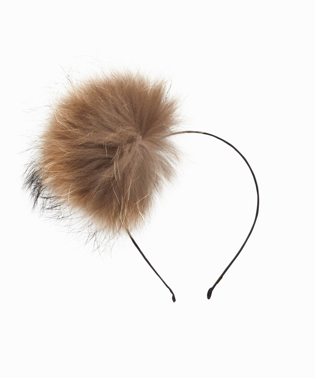 Fur Puff Beige Headband