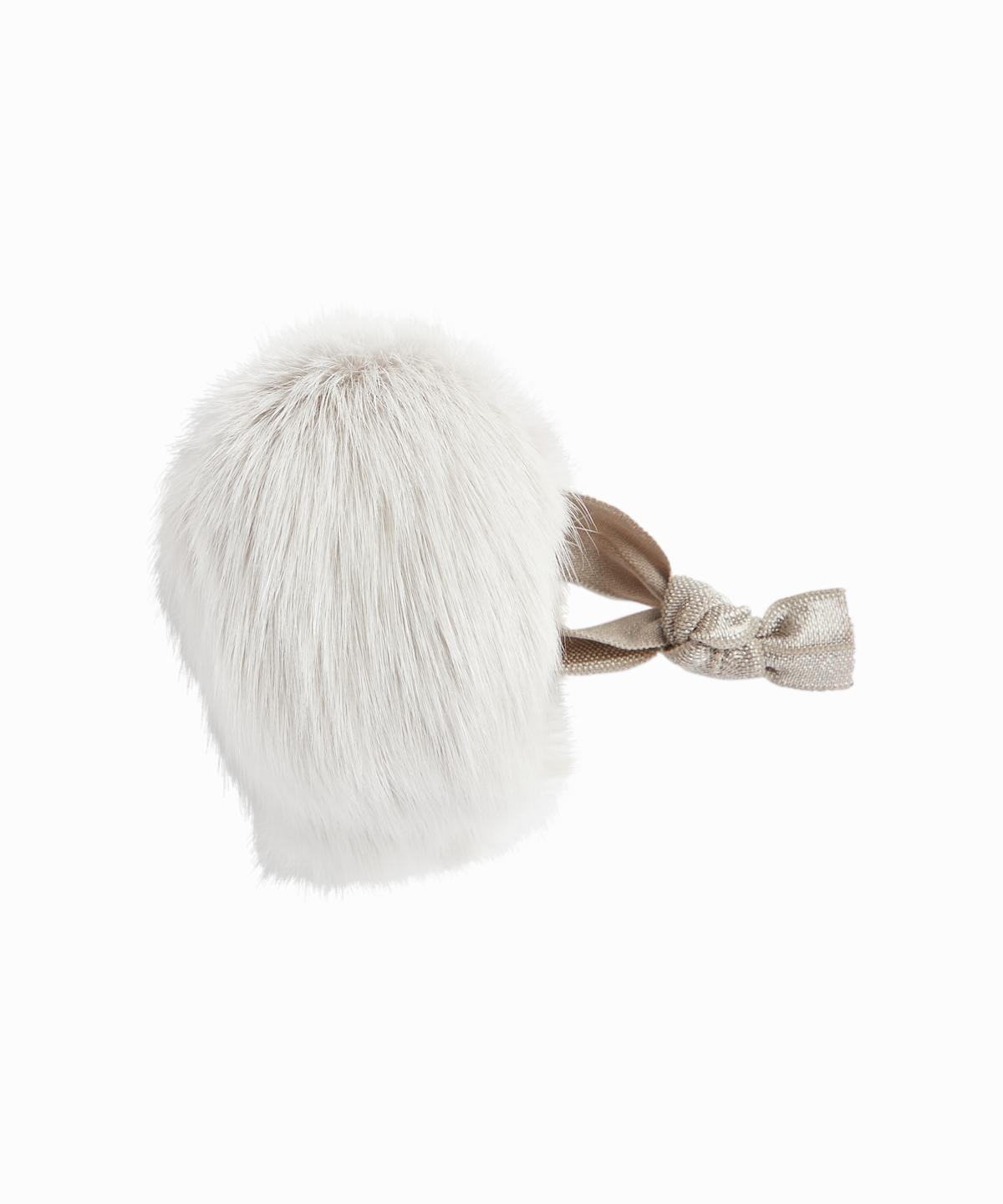 Fox Fur Grey Puff Ponytail Holder