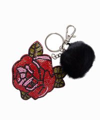 Crystal Rose Fox Fur Pom Keychain