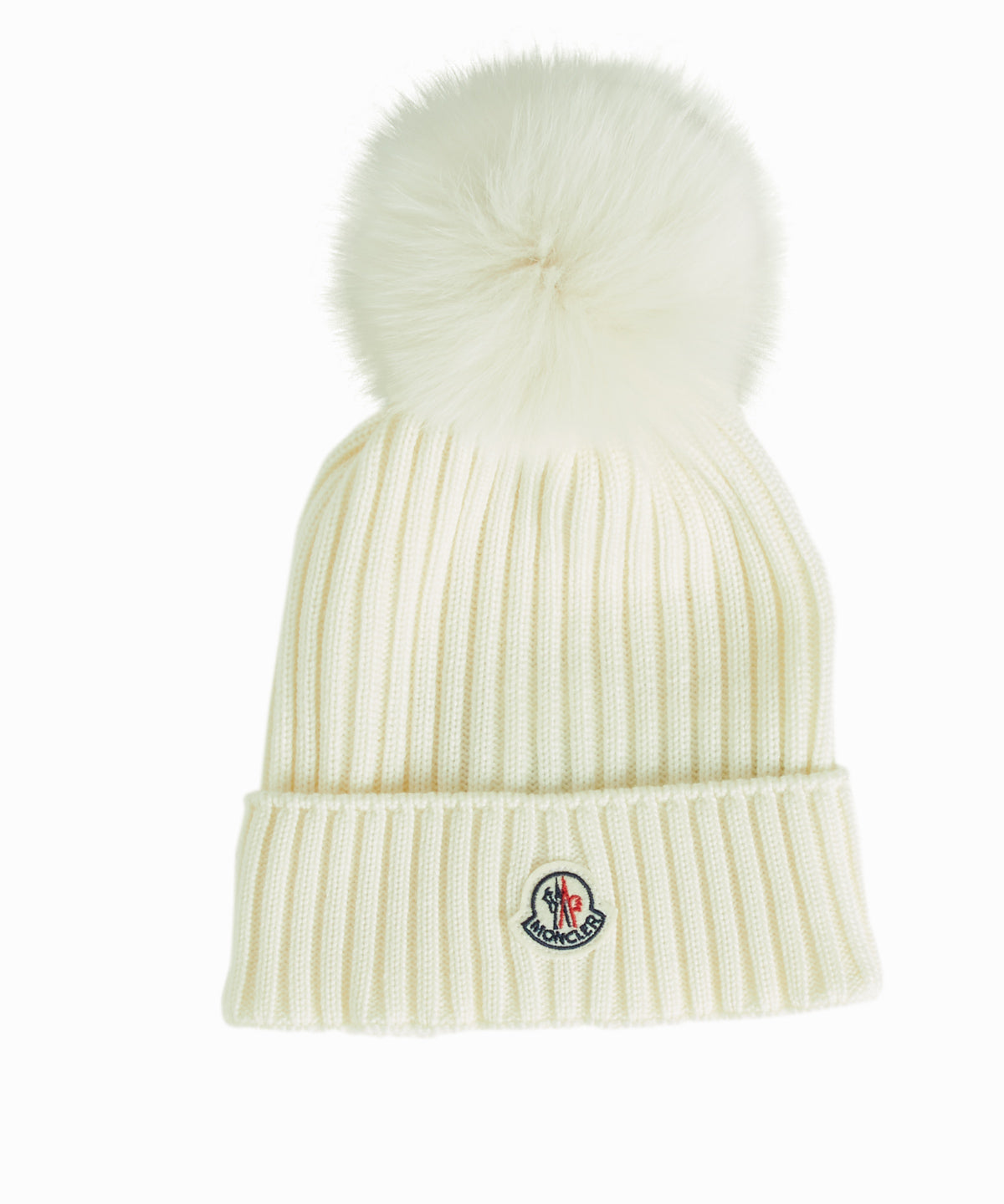 4c9acb89bfd Moncler Wool Hat With Fur Pom Pom