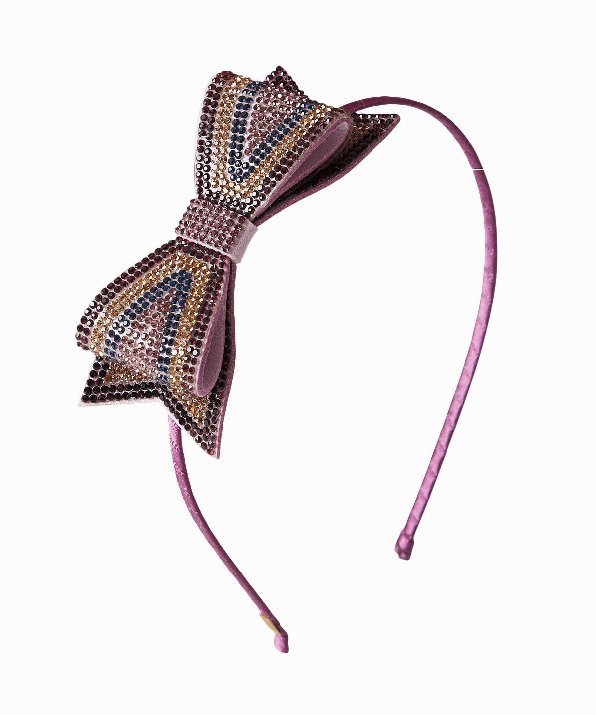 Striped Crystal Bow Headband