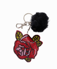 Exclusive Crystal Rose Fox Fur Pom Keychain