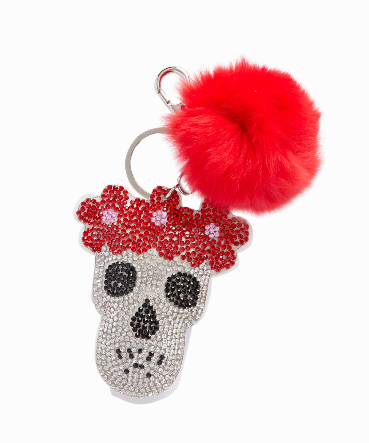 Exclusive Crystal Skull Fox Fur Pom Keychain