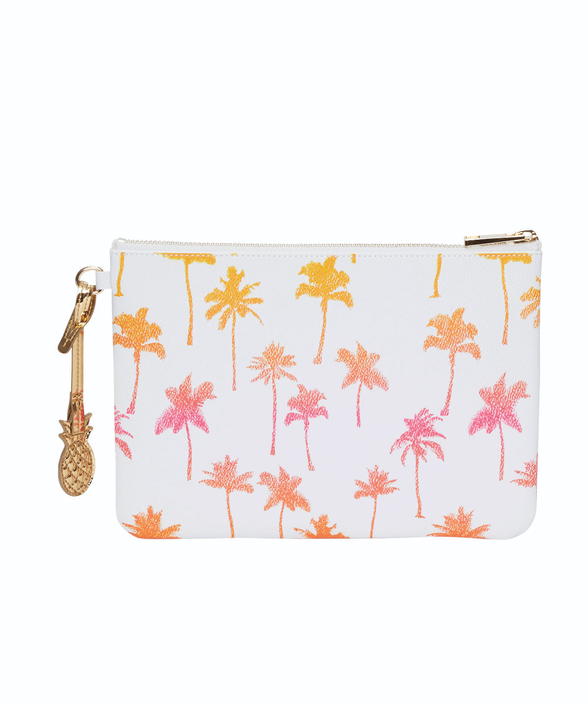Exclusive Palm Tree Print Pineapple Charm Flat Pouch