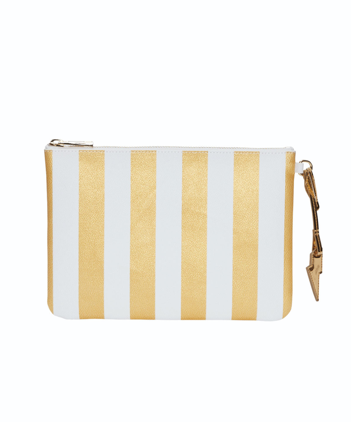 Exclusive Striped Print Lightning Bolt Charm Flat Pouch
