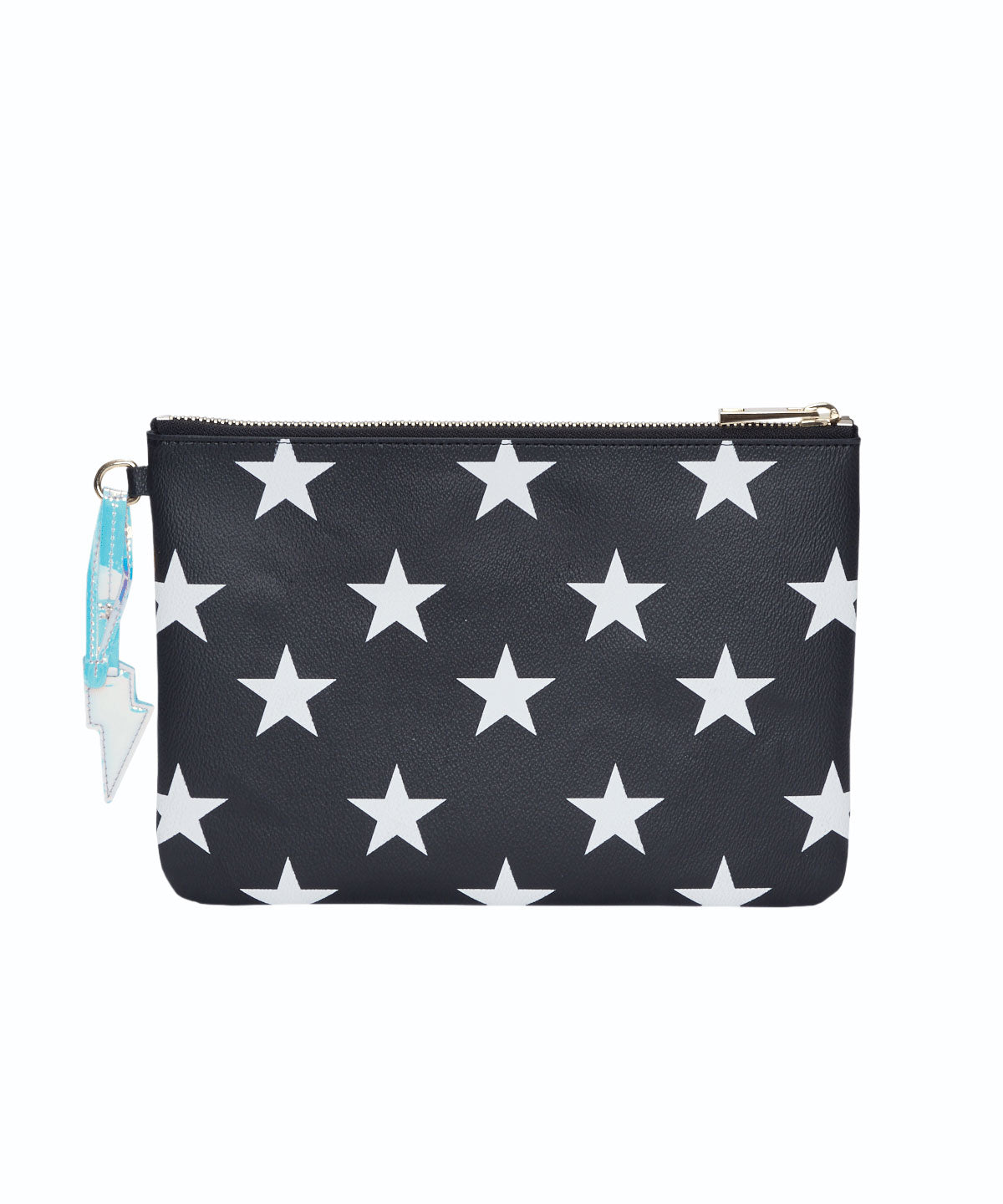 Exclusive Star Print Lightning Bolt Charm Flat Pouch