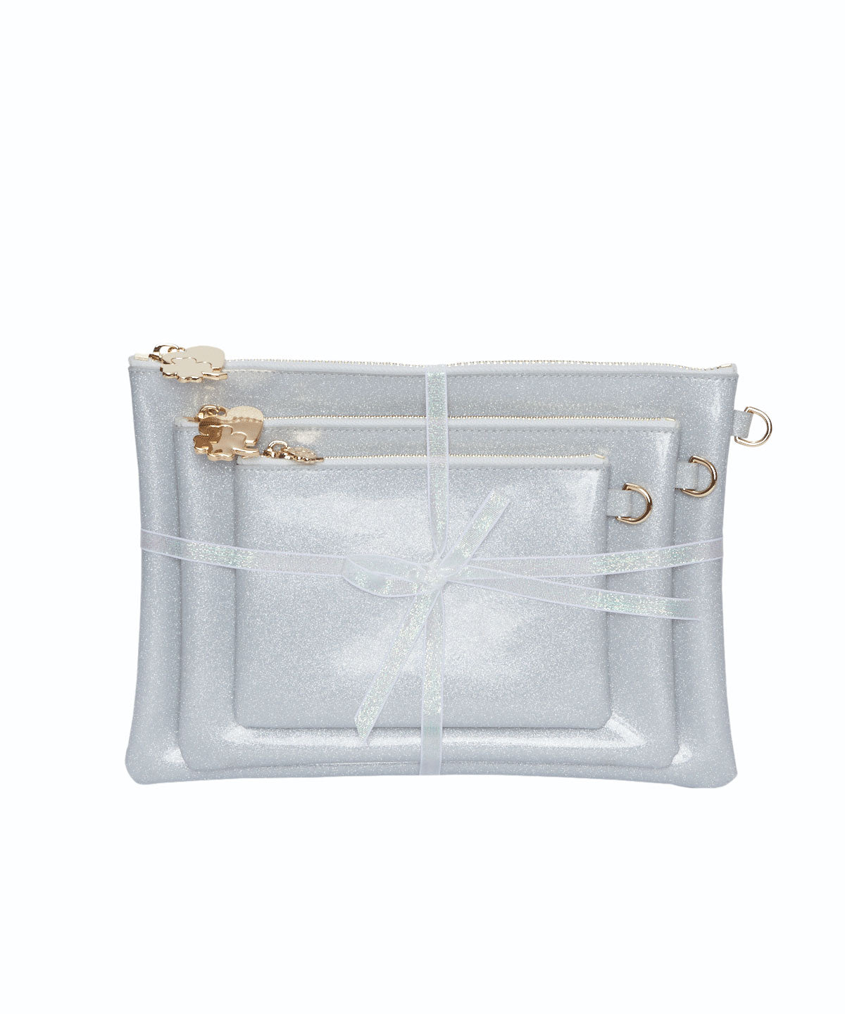 Exclusive Set of 3 Silver Patent Flat Pouches