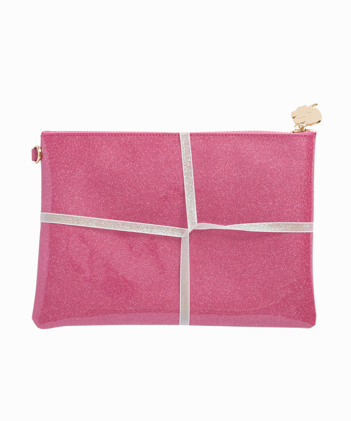 Exclusive Set of 3 Fuchsia Patent Flat Pouches