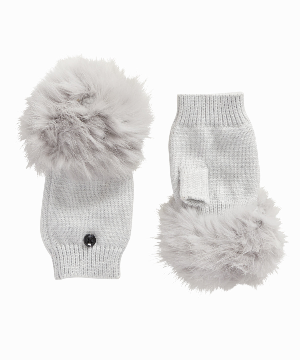 Grey Rabbit Fur Mittens