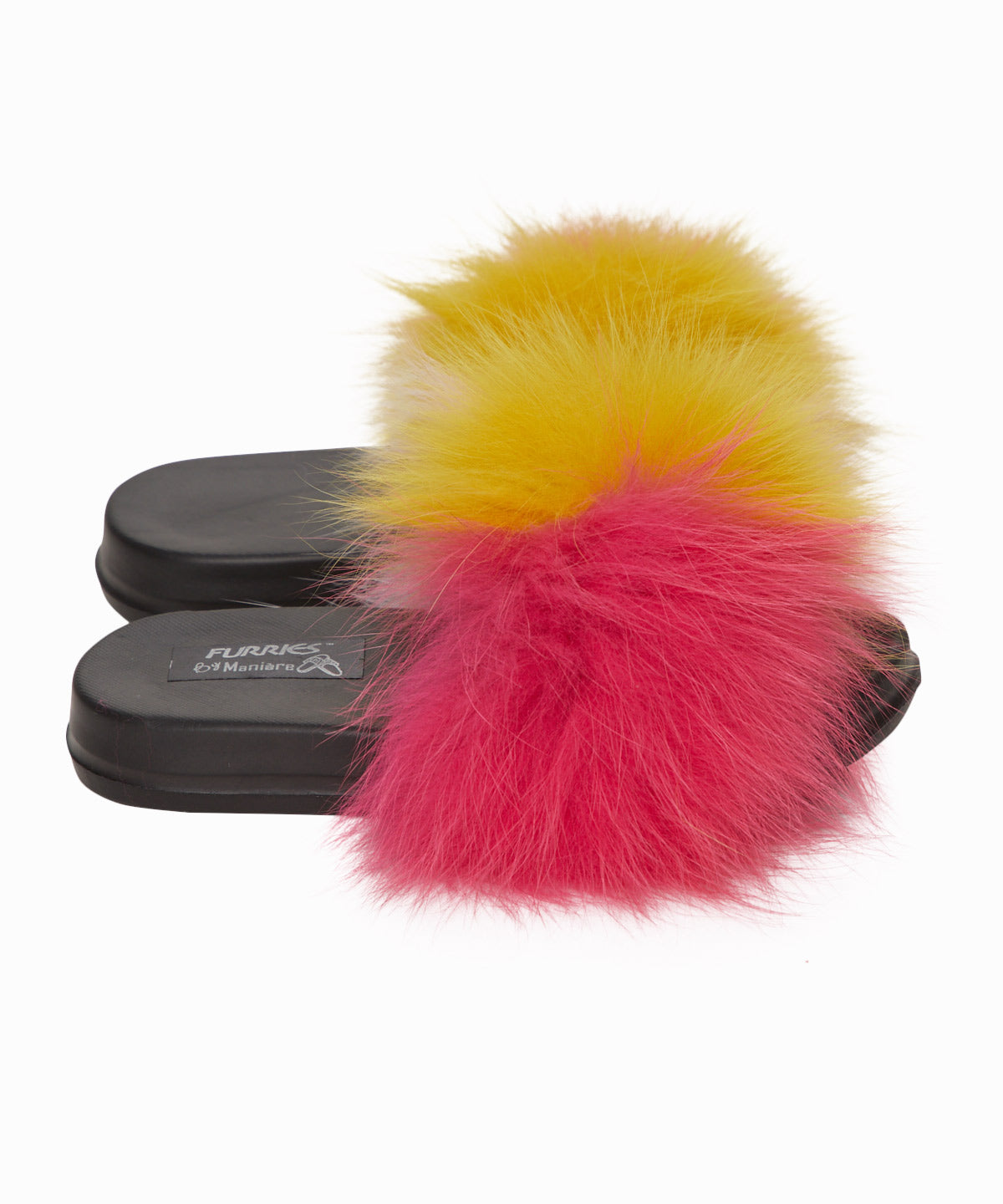 Exclusive Coral Faux Fur Slides