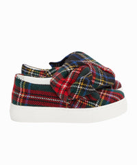 Tartan Plaid Bow Slip-On Sneakers