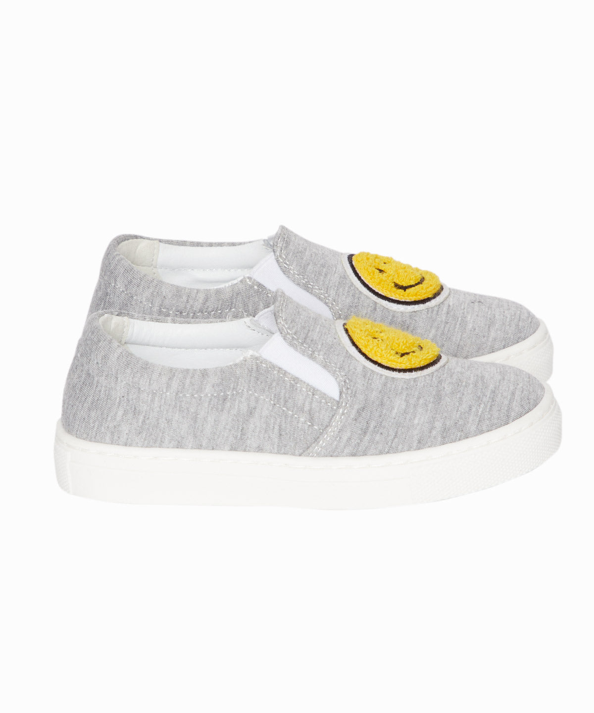 Smiley Grey Jersey Slip-On Sneakers