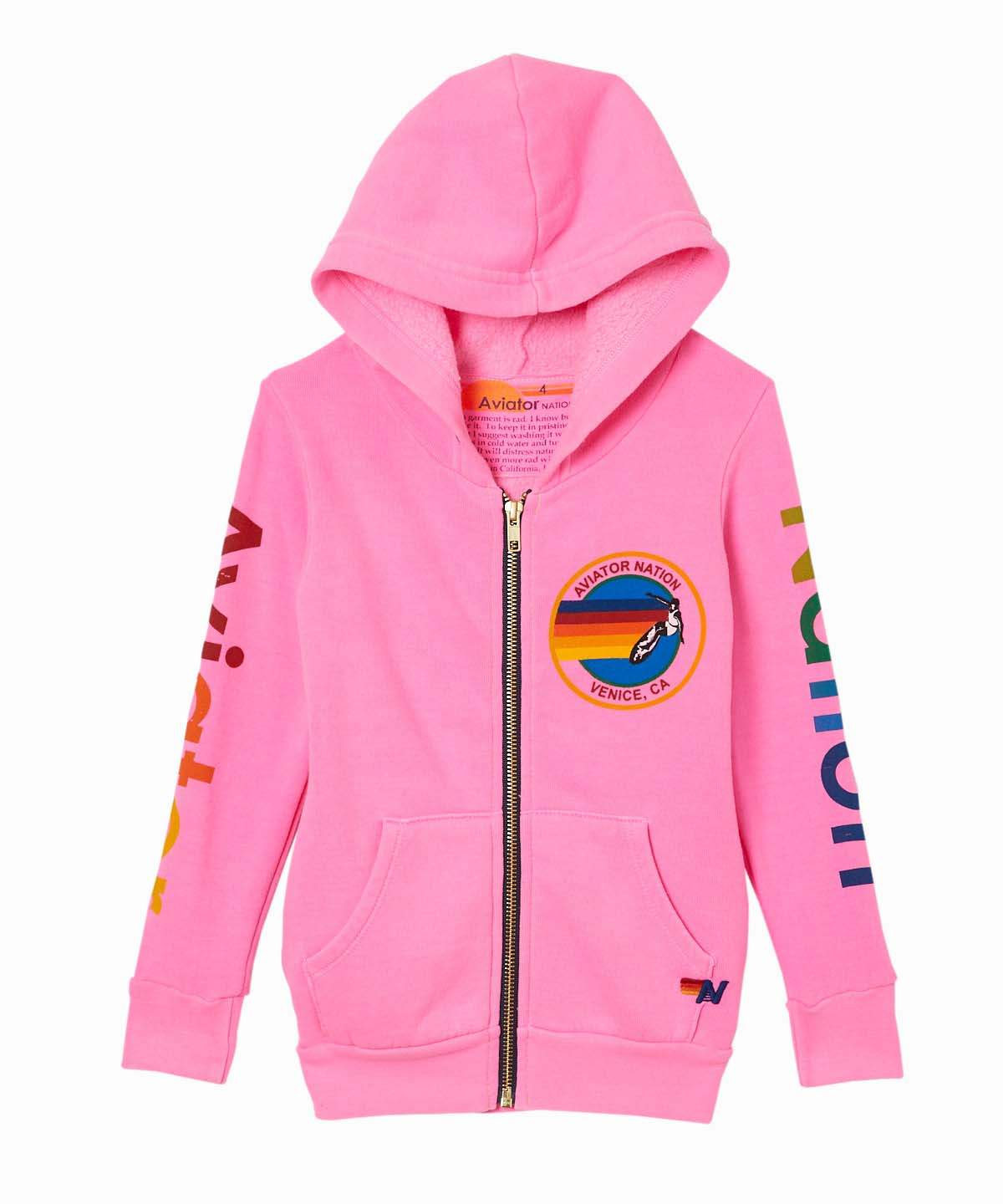 AV Logo Zip-Up Hooded Pink Sweatshirt