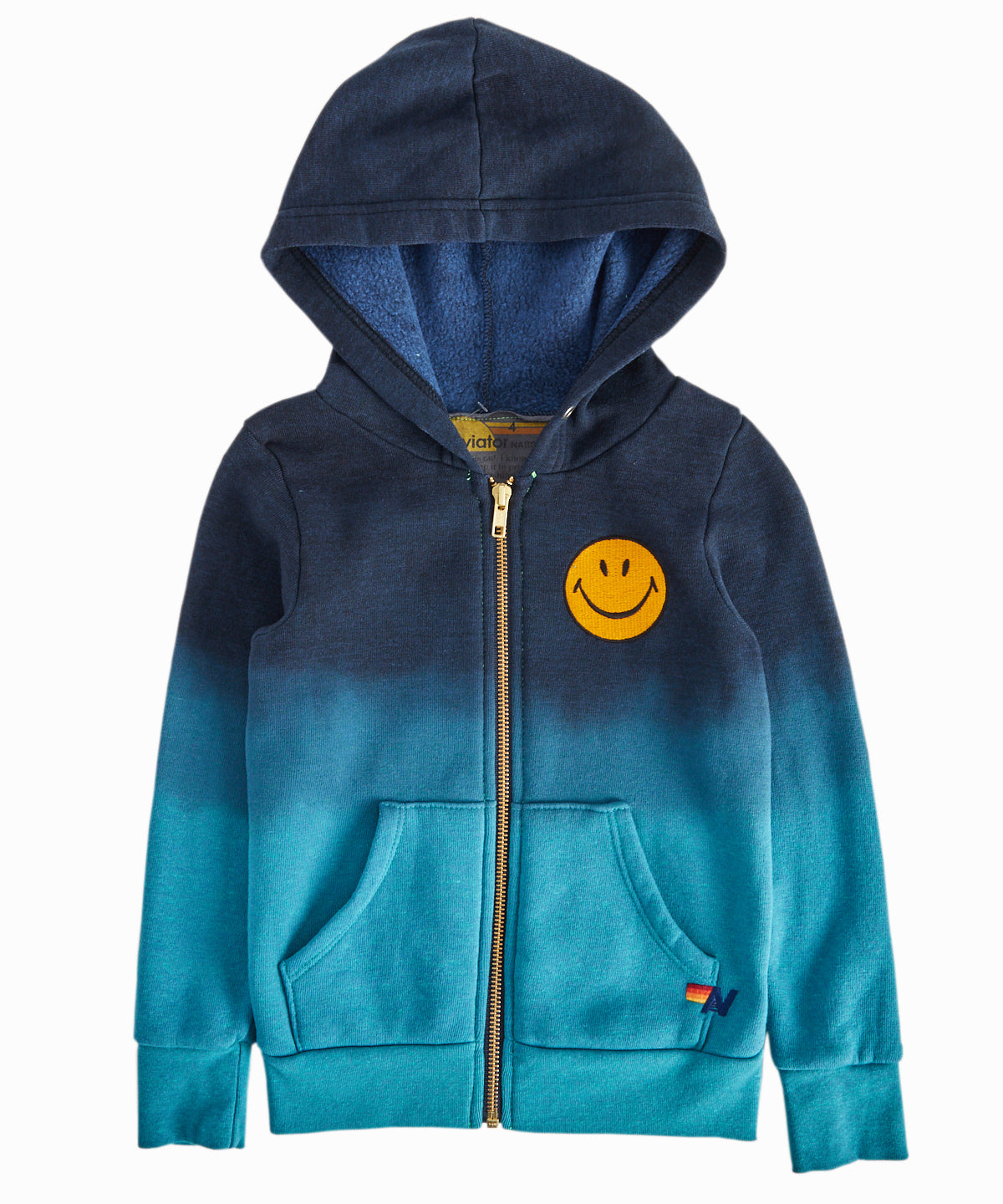 Turquoise Ombre Smiley Zip-Up Hooded Sweatshirt