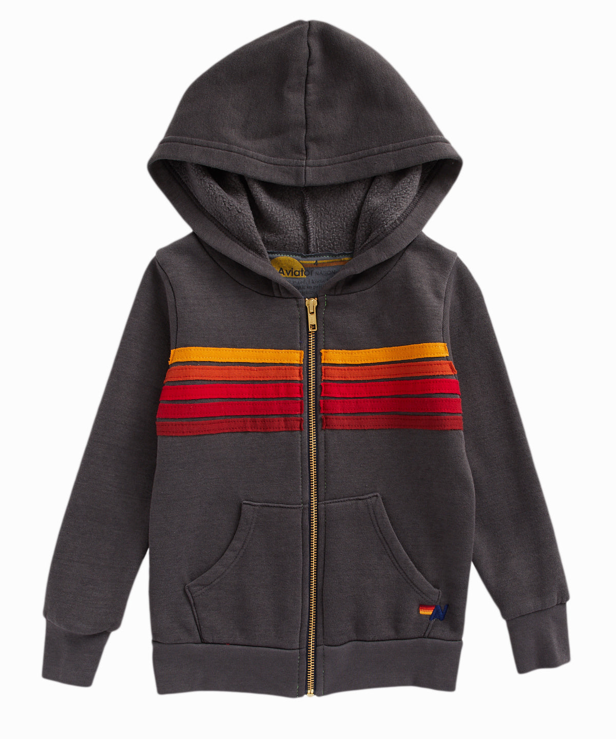 5 Stripe Zip-Up Hooded Grey Sweatshirt